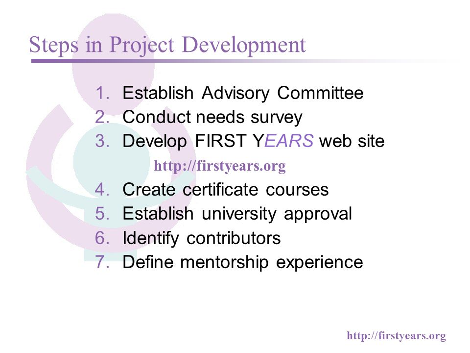http://firstyears.org 1.Establish Advisory Committee 2.Conduct needs survey 3.Develop FIRST YEARS web site 4.Create certificate courses 5.Establish university approval 6.Identify contributors 7.Define mentorship experience Steps in Project Development http://firstyears.org