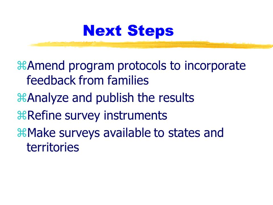 Next Steps zAmend program protocols to incorporate feedback from families zAnalyze and publish the results zRefine survey instruments zMake surveys available to states and territories