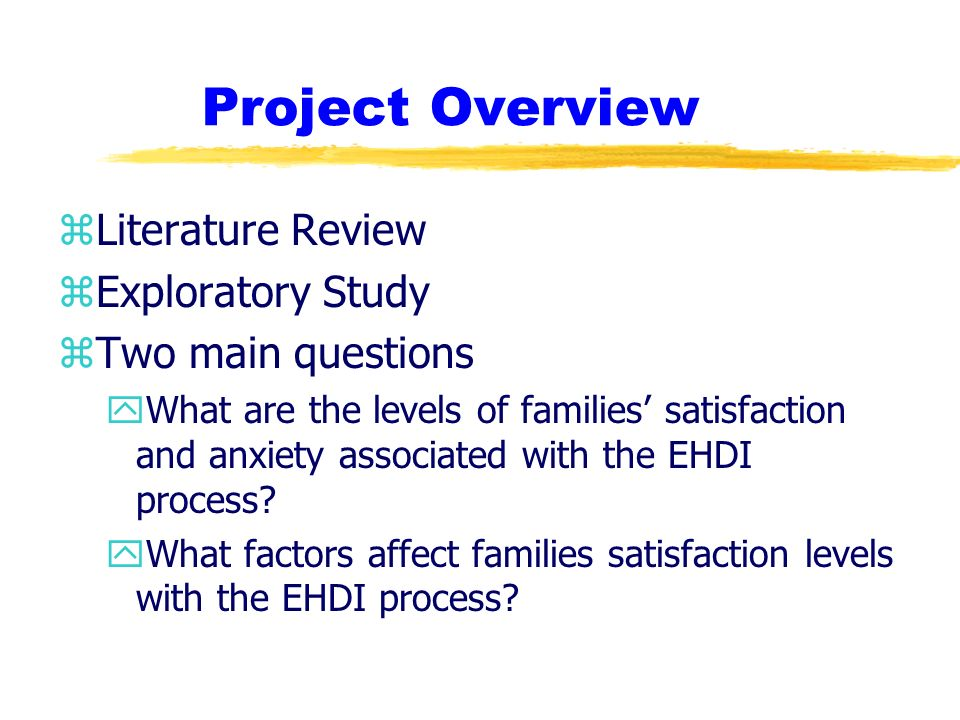 Project Overview zLiterature Review zExploratory Study zTwo main questions yWhat are the levels of families satisfaction and anxiety associated with the EHDI process.