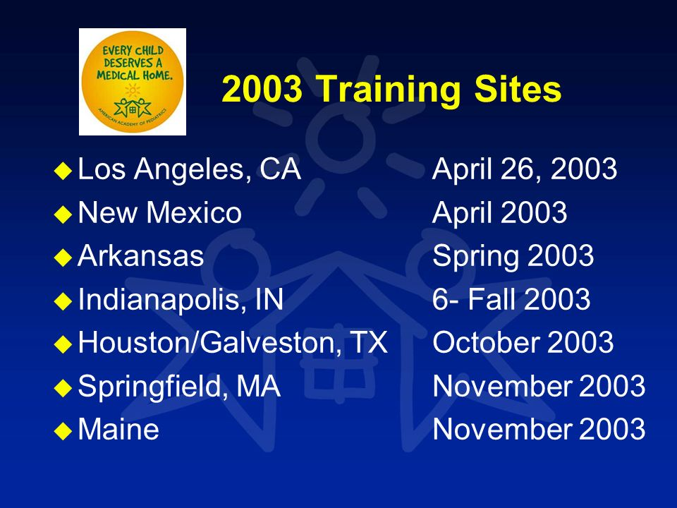 2003 Training Sites u u Los Angeles, CA April 26, 2003 u u New Mexico April 2003 u u Arkansas Spring 2003 u u Indianapolis, IN 6- Fall 2003 u u Housto