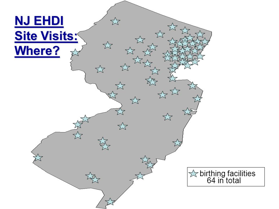 birthing facilities 64 in total NJ EHDI Site Visits: Where