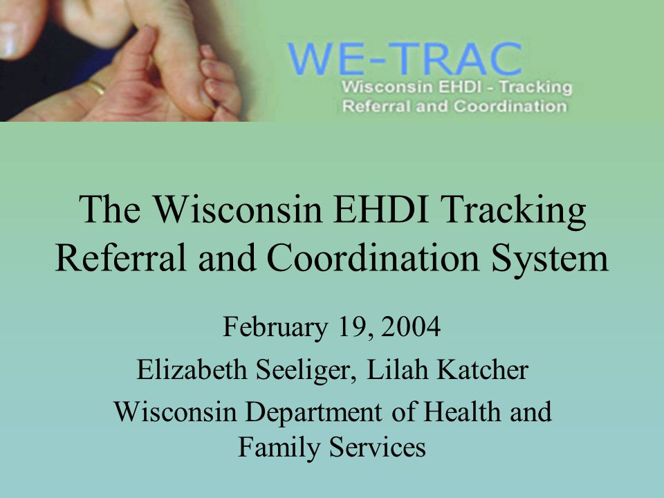 The Wisconsin EHDI Tracking Referral and Coordination System February 19, 2004 Elizabeth Seeliger, Lilah Katcher Wisconsin Department of Health and Family Services