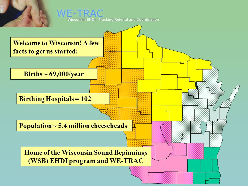 Births ~ 69,000/year Birthing Hospitals = 102 Population ~ 5.4 million cheeseheads Welcome to Wisconsin! A few facts to get us started: Home of the Wi