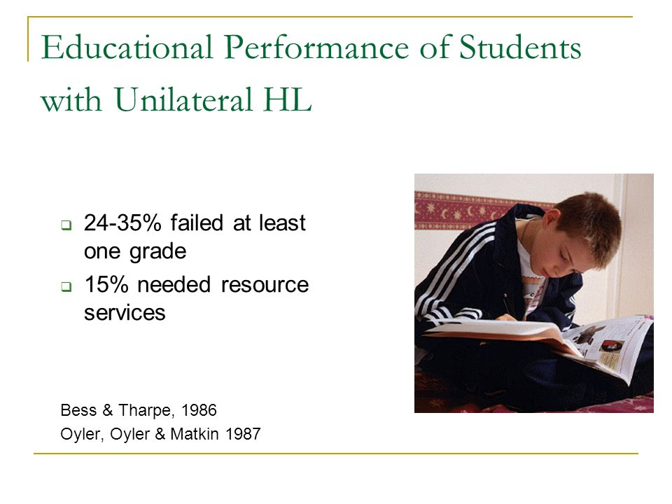 Educational Performance of Students with Unilateral HL 24-35% failed at least one grade 15% needed resource services Bess & Tharpe, 1986 Oyler, Oyler
