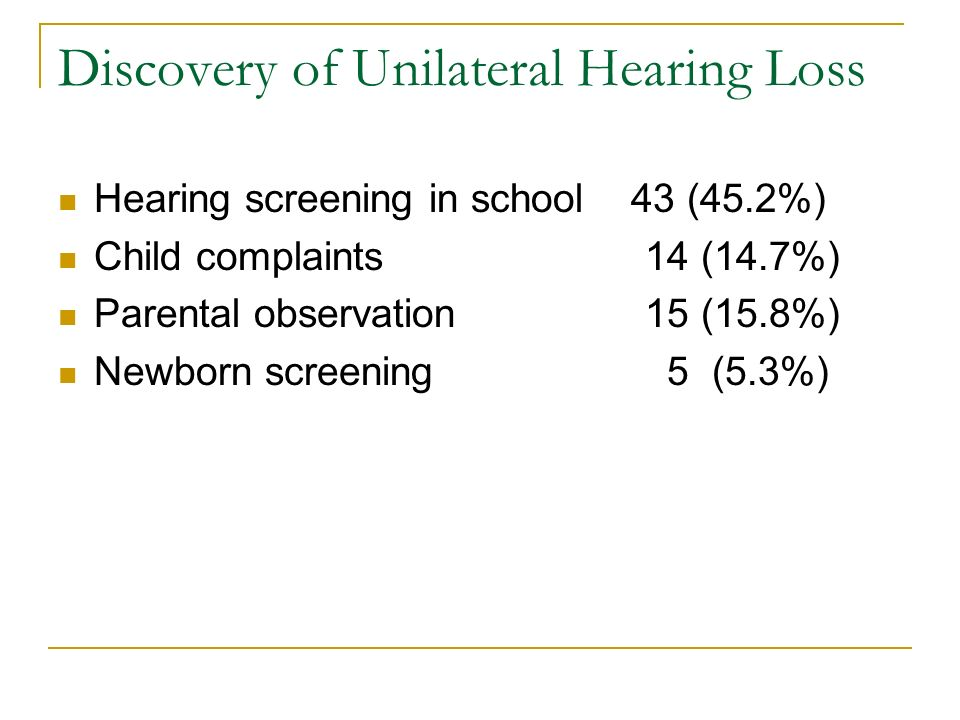 Discovery of Unilateral Hearing Loss Hearing screening in school 43 (45.2%) Child complaints 14 (14.7%) Parental observation 15 (15.8%) Newborn screen