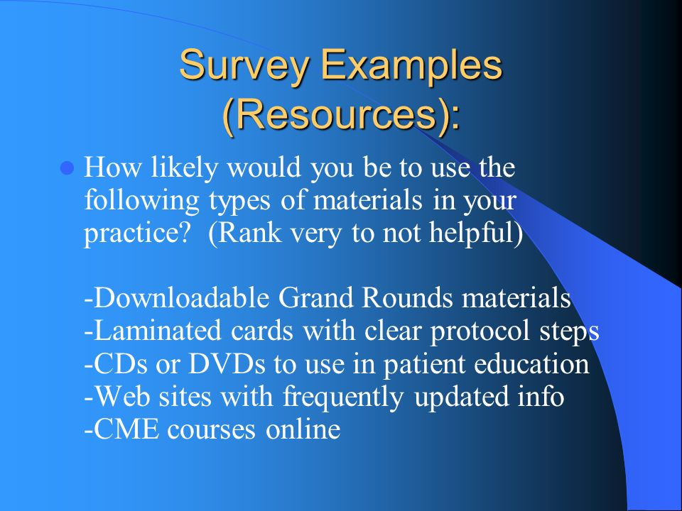 Survey Examples (Resources): How likely would you be to use the following types of materials in your practice.