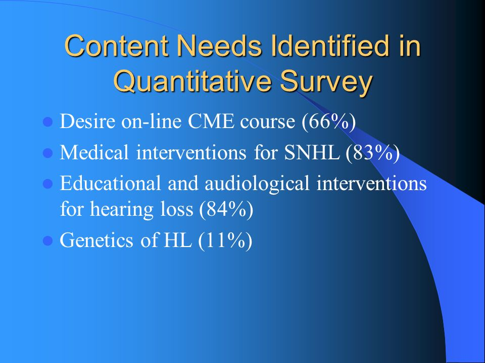 Content Needs Identified in Quantitative Survey Desire on-line CME course (66%) Medical interventions for SNHL (83%) Educational and audiological inte