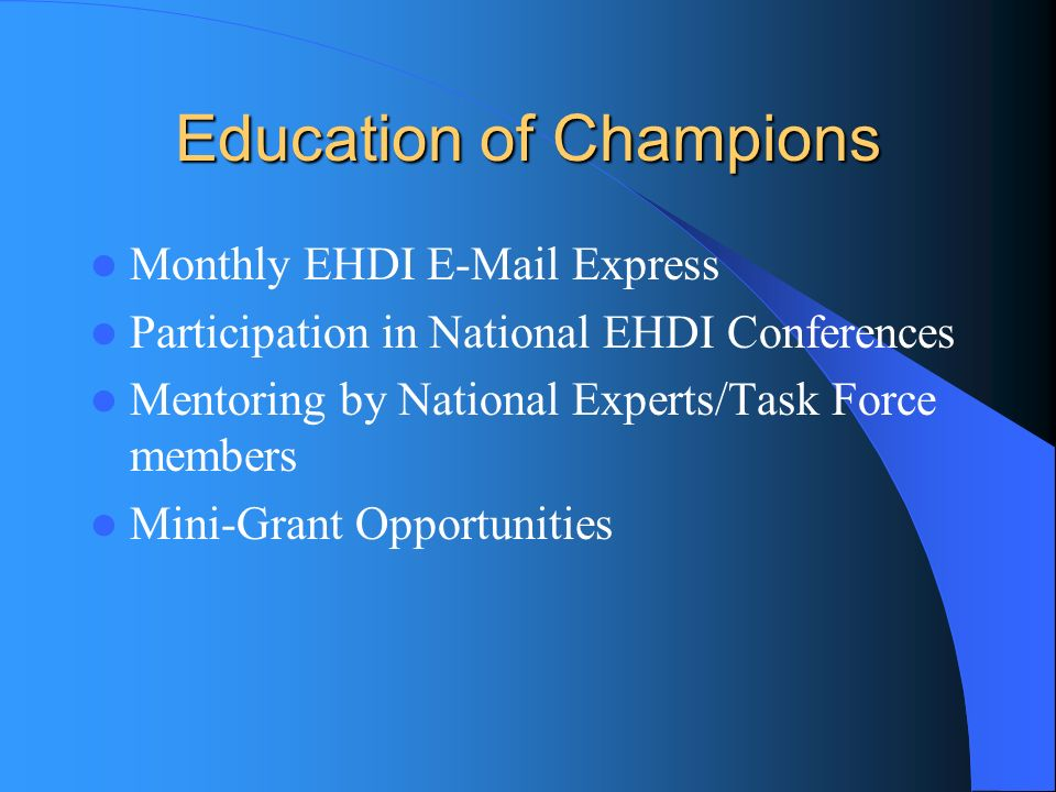 Education of Champions Monthly EHDI E-Mail Express Participation in National EHDI Conferences Mentoring by National Experts/Task Force members Mini-Gr