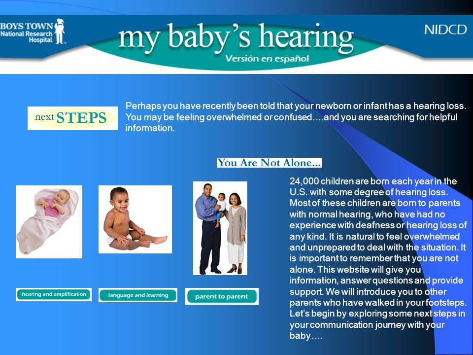 24,000 children are born each year in the U.S. with some degree of hearing loss.