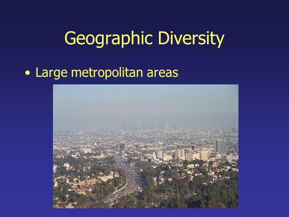 Geographic Diversity Large metropolitan areas