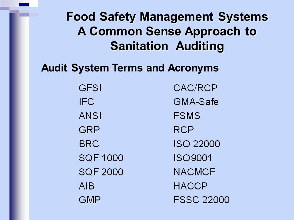 The Foundation for Food Safety Certification Food Safety System Certification 22000 Key elements:Interactive communication, System management Prerequisite programs HACCP principles.