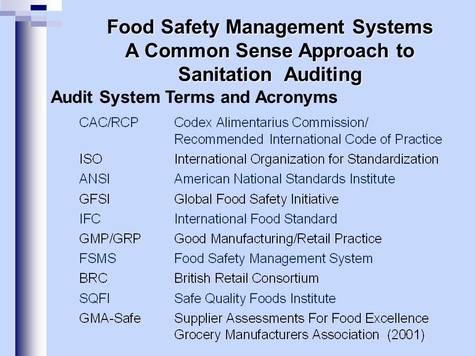 Independent Auditing Firms: Paster Training, Inc.EcoSure SteritectCook & Thurber QMI – SaiglobalSiliker NQAABC ASISGS SCSETC… ETC… AIB – American Institute of Baking (1919) Commitment to audit standards that support and incorporate GFSI standards, Codex (HACCP), FDA & USDA GMPs, GRPs – Good Retail Practices.