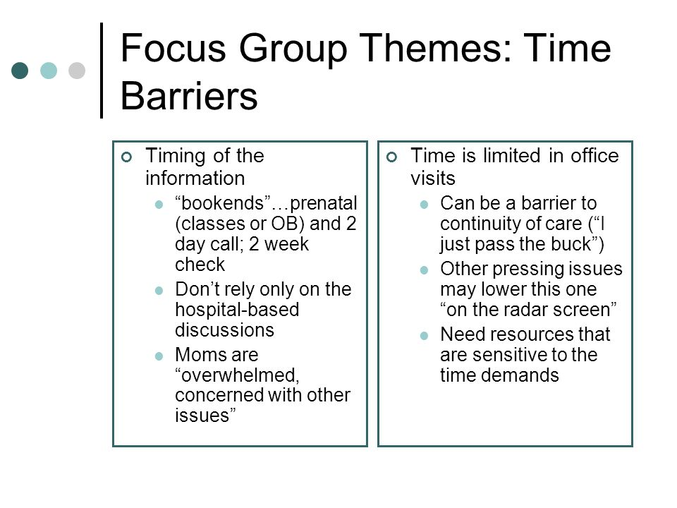 Focus Group Themes: Time Barriers Timing of the information bookends…prenatal (classes or OB) and 2 day call; 2 week check Dont rely only on the hospital-based discussions Moms are overwhelmed, concerned with other issues Time is limited in office visits Can be a barrier to continuity of care (I just pass the buck) Other pressing issues may lower this one on the radar screen Need resources that are sensitive to the time demands