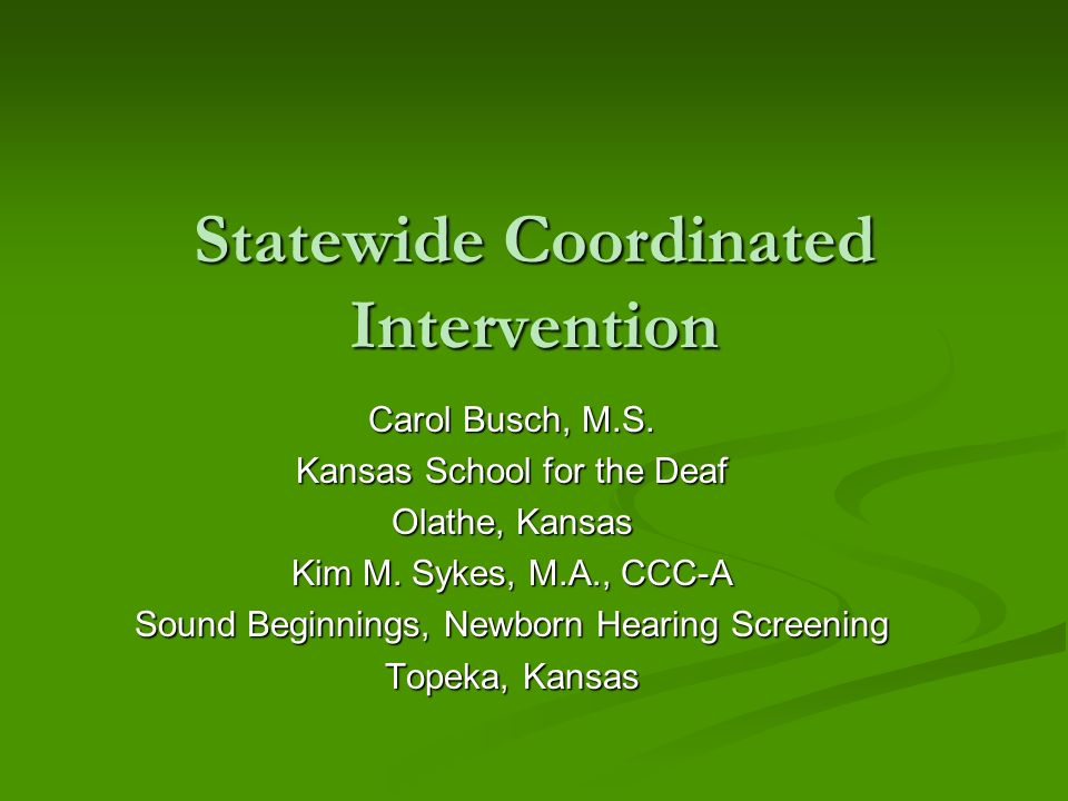 Statewide Coordinated Intervention Carol Busch, M.S.