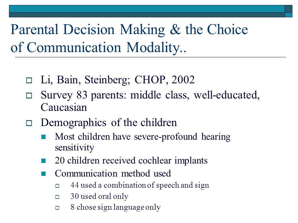 Parental Decision Making & the Choice of Communication Modality..
