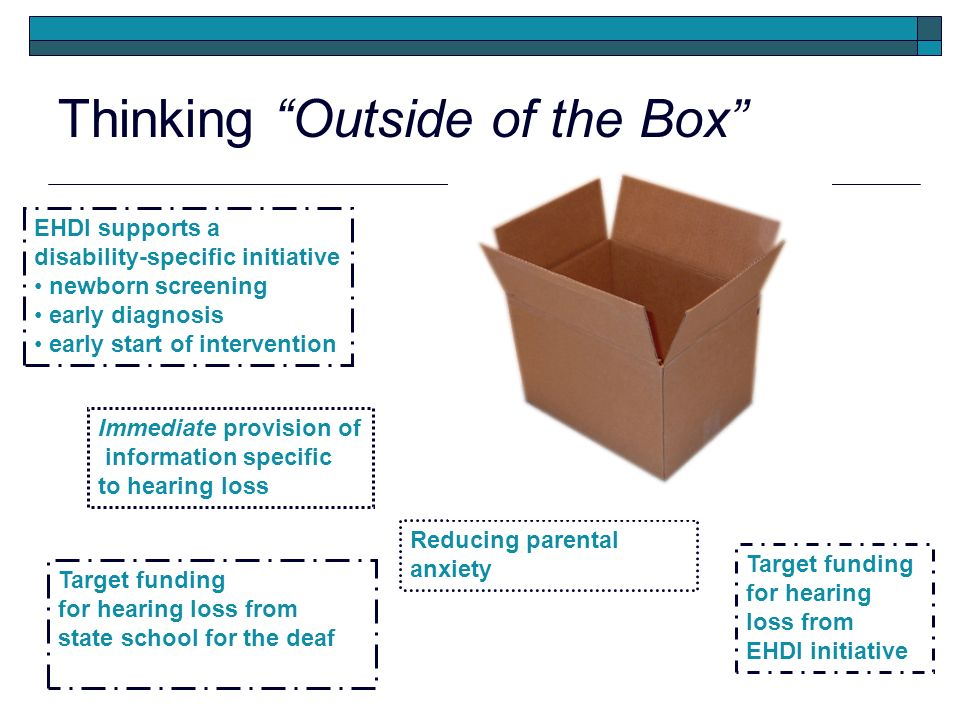 Thinking Outside of the Box EHDI supports a disability-specific initiative newborn screening early diagnosis early start of intervention Target funding for hearing loss from EHDI initiative Target funding for hearing loss from state school for the deaf Immediate provision of information specific to hearing loss Reducing parental anxiety