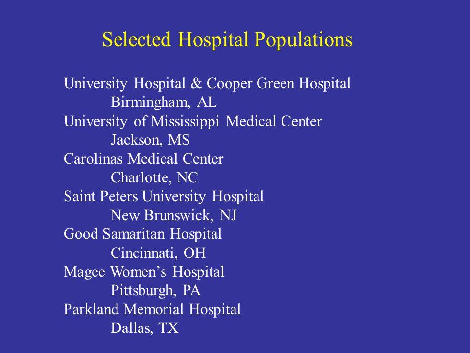 University Hospital & Cooper Green Hospital Birmingham, AL University of Mississippi Medical Center Jackson, MS Carolinas Medical Center Charlotte, NC