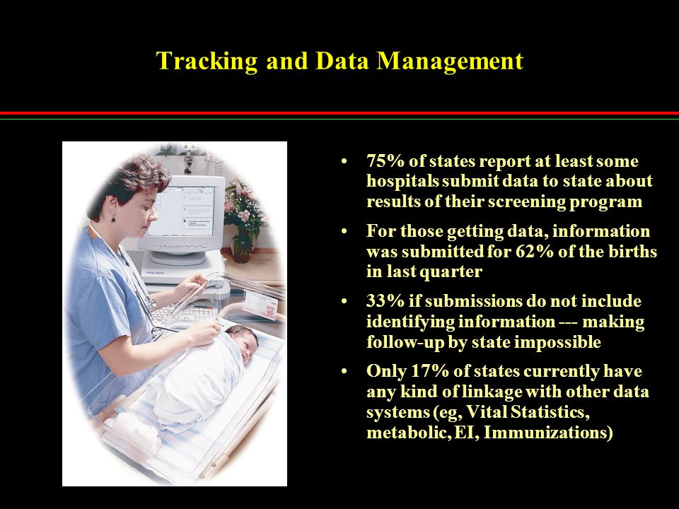 Tracking and Data Management 75% of states report at least some hospitals submit data to state about results of their screening program For those getting data, information was submitted for 62% of the births in last quarter 33% if submissions do not include identifying information --- making follow-up by state impossible Only 17% of states currently have any kind of linkage with other data systems (eg, Vital Statistics, metabolic, EI, Immunizations)