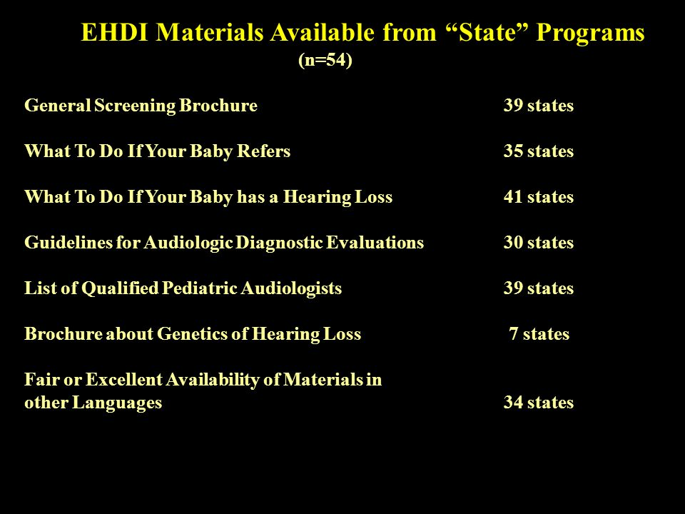 EHDI Materials Available from State Programs (n=54) General Screening Brochure 39 states What To Do If Your Baby Refers 35 states What To Do If Your Baby has a Hearing Loss41 states Guidelines for Audiologic Diagnostic Evaluations 30 states List of Qualified Pediatric Audiologists39 states Brochure about Genetics of Hearing Loss 7 states Fair or Excellent Availability of Materials in other Languages 34 states