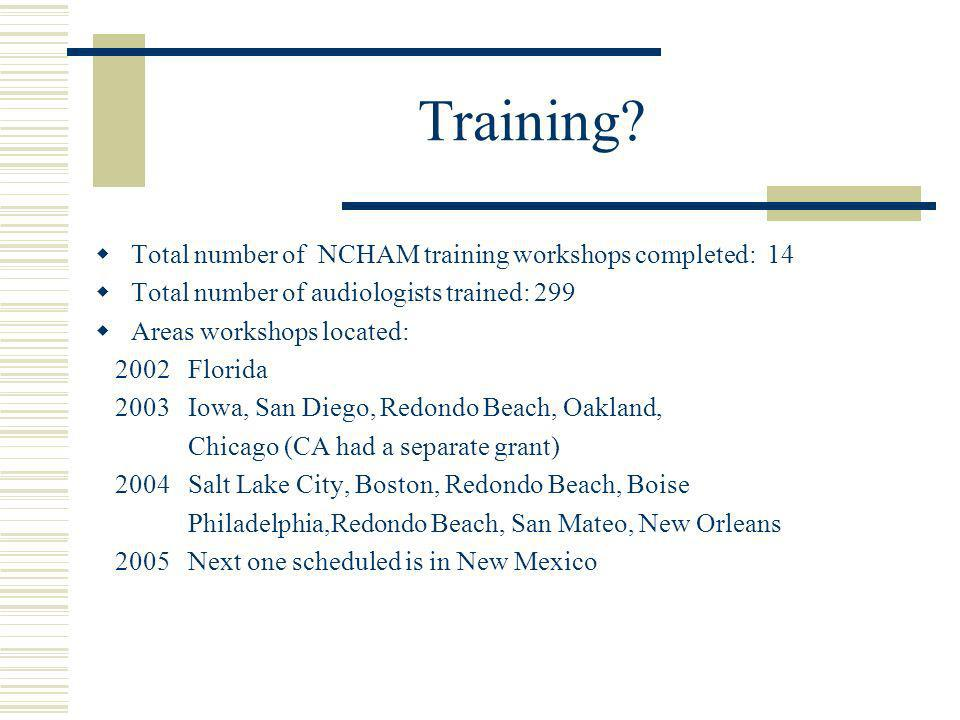 Training? Total number of NCHAM training workshops completed: 14 Total number of audiologists trained: 299 Areas workshops located: 2002 Florida 2003