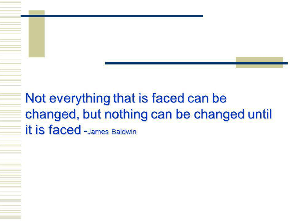 Not everything that is faced can be changed, but nothing can be changed until it is faced - James Baldwin