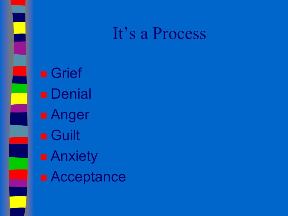 Its a Process n Grief n Denial n Anger n Guilt n Anxiety n Acceptance
