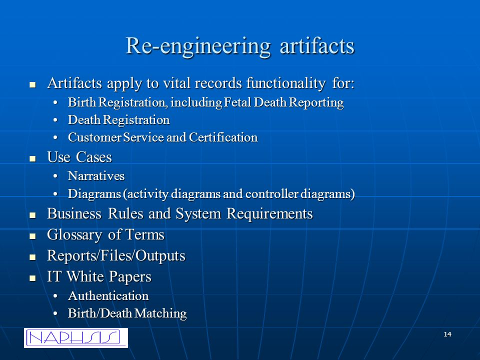 14 Re-engineering artifacts Artifacts apply to vital records functionality for: Artifacts apply to vital records functionality for: Birth Registration