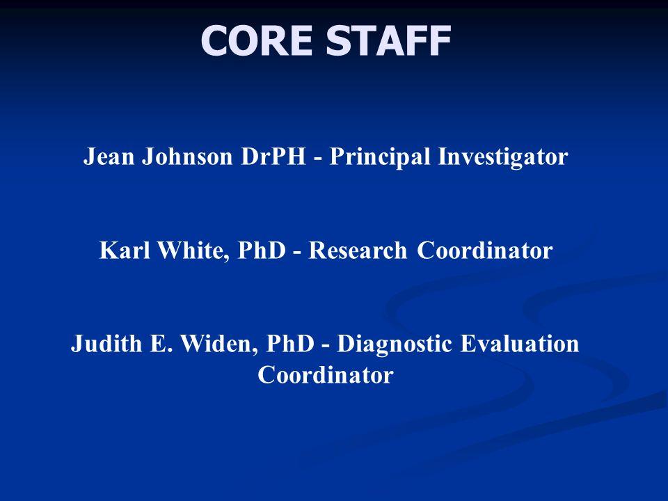 CORE STAFF Jean Johnson DrPH - Principal Investigator Karl White, PhD - Research Coordinator Judith E.