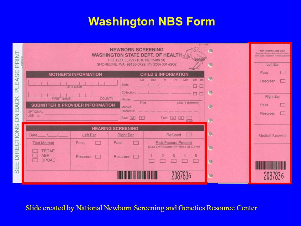 Washington NBS Form Slide created by National Newborn Screening and Genetics Resource Center