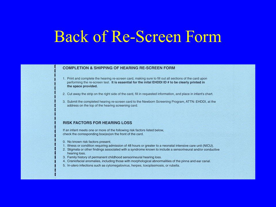 Back of Re-Screen Form
