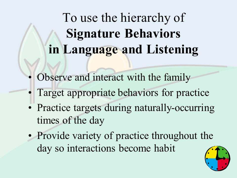 To use the hierarchy of Signature Behaviors in Language and Listening Observe and interact with the family Target appropriate behaviors for practice P