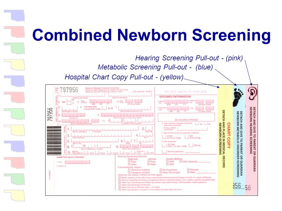 Combined Newborn Screening The resulting new form included an area to record hearing screening results as well as hearing risk status It also included