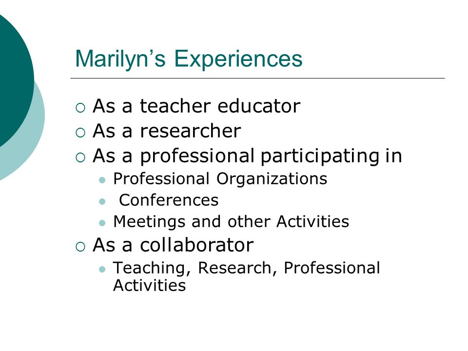 Marilyns Experiences As a teacher educator As a researcher As a professional participating in Professional Organizations Conferences Meetings and othe