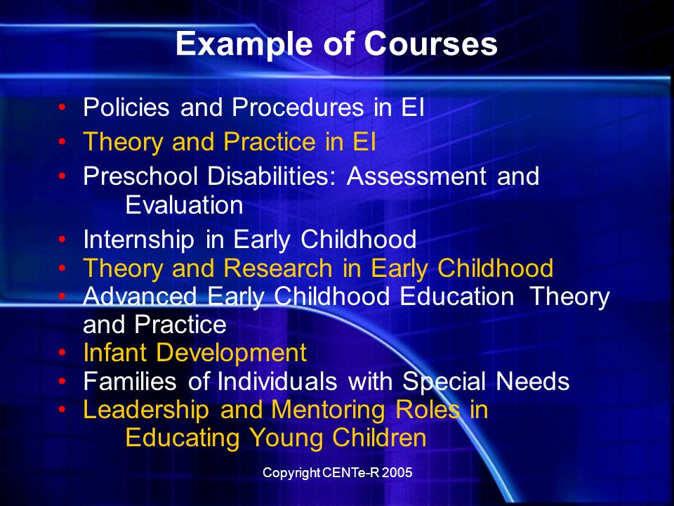 Copyright CENTe-R 2005 Flexible Use Use Culture and Service Delivery together Apply portions of Family Centered Assessment and Milestones Assign Family Support and Hearing Assessment but use discussion questions only from Hearing Assessment Require individual readings but view or discuss videos as a small group Generate own discussion questions based on combination of modules and other readings Suggest scenarios as basis to interview family or professional for their advice