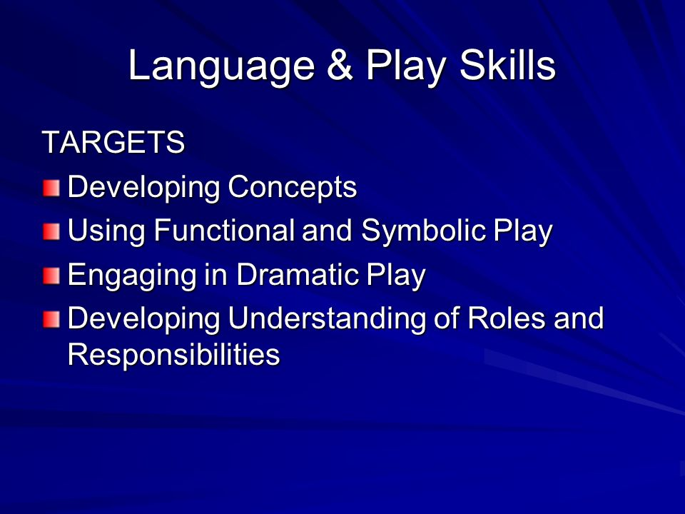 Language & Play Skills TARGETS Developing Concepts Using Functional and Symbolic Play Engaging in Dramatic Play Developing Understanding of Roles and