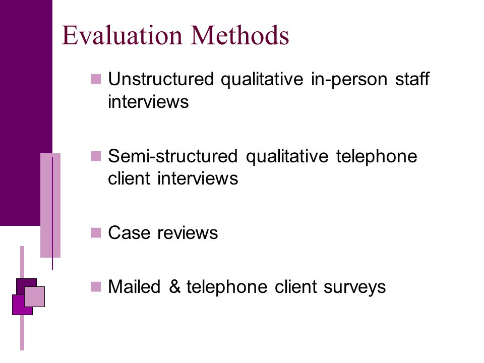 Evaluation Methods Unstructured qualitative in-person staff interviews Semi-structured qualitative telephone client interviews Case reviews Mailed & telephone client surveys
