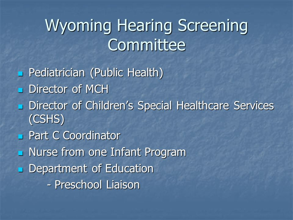 Wyoming Hearing Screening Committee Pediatrician (Public Health) Pediatrician (Public Health) Director of MCH Director of MCH Director of Childrens Sp