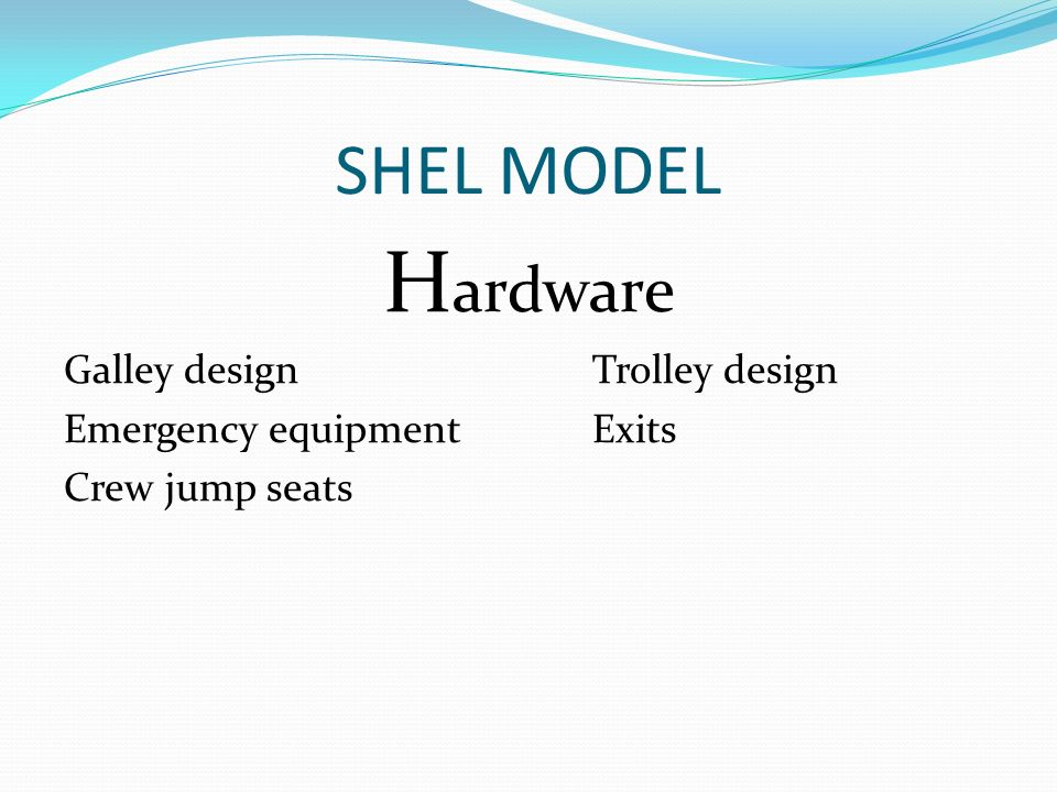SHEL MODEL H ardware Galley designTrolley design Emergency equipmentExits Crew jump seats