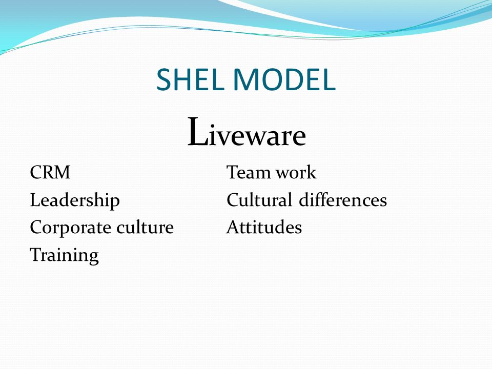 SHEL MODEL L iveware CRMTeam work LeadershipCultural differences Corporate cultureAttitudes Training