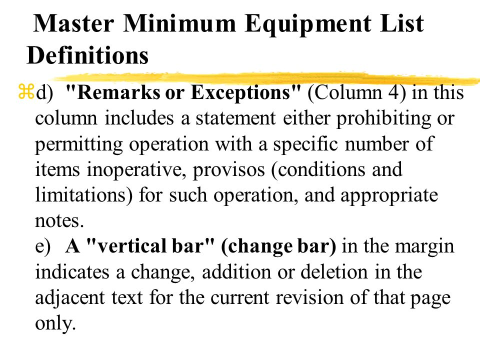 Master Minimum Equipment List Definitions zd)