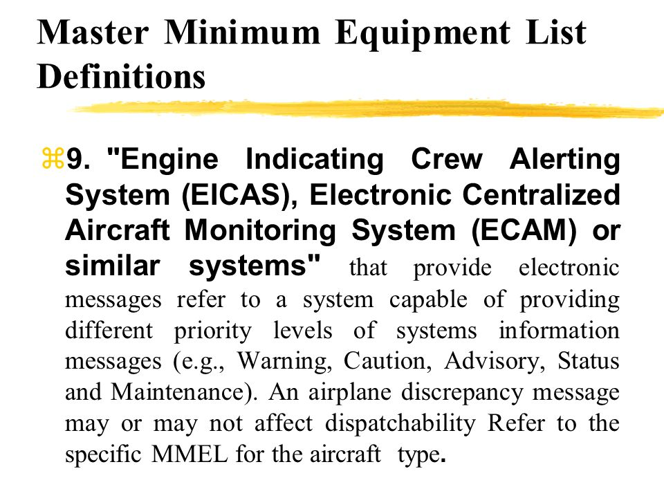 Master Minimum Equipment List Definitions 9.