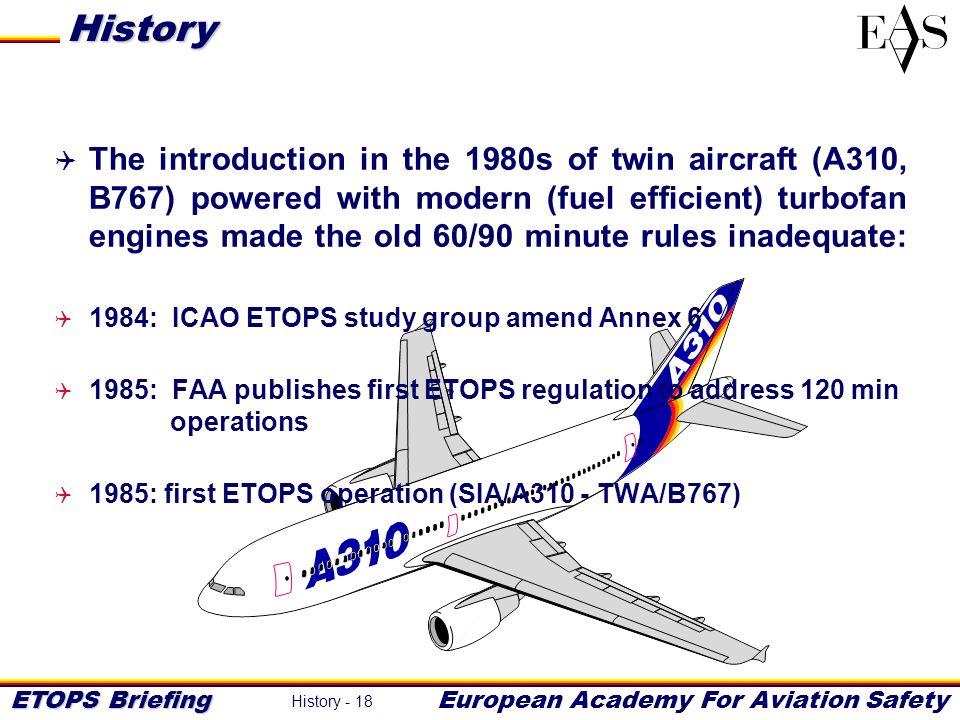 ETOPS Briefing European Academy For Aviation Safety History - 18 The introduction in the 1980s of twin aircraft (A310, B767) powered with modern (fuel