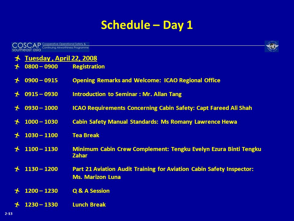 Schedule – Day 1 Tuesday, April 22, 2008 0800 – 0900 Registration 0900 – 0915 Opening Remarks and Welcome: ICAO Regional Office 0915 – 0930 Introducti