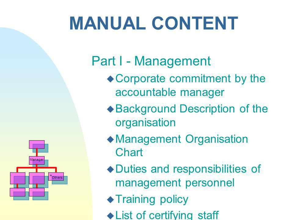 MANUAL CONTENT Part I - Management Corporate commitment by the accountable manager Background Description of the organisation Management Organisation