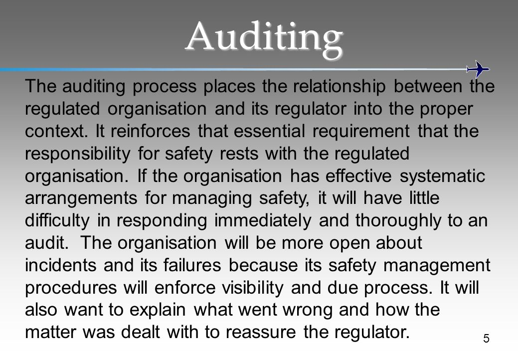 Auditing 5 The auditing process places the relationship between the regulated organisation and its regulator into the proper context.
