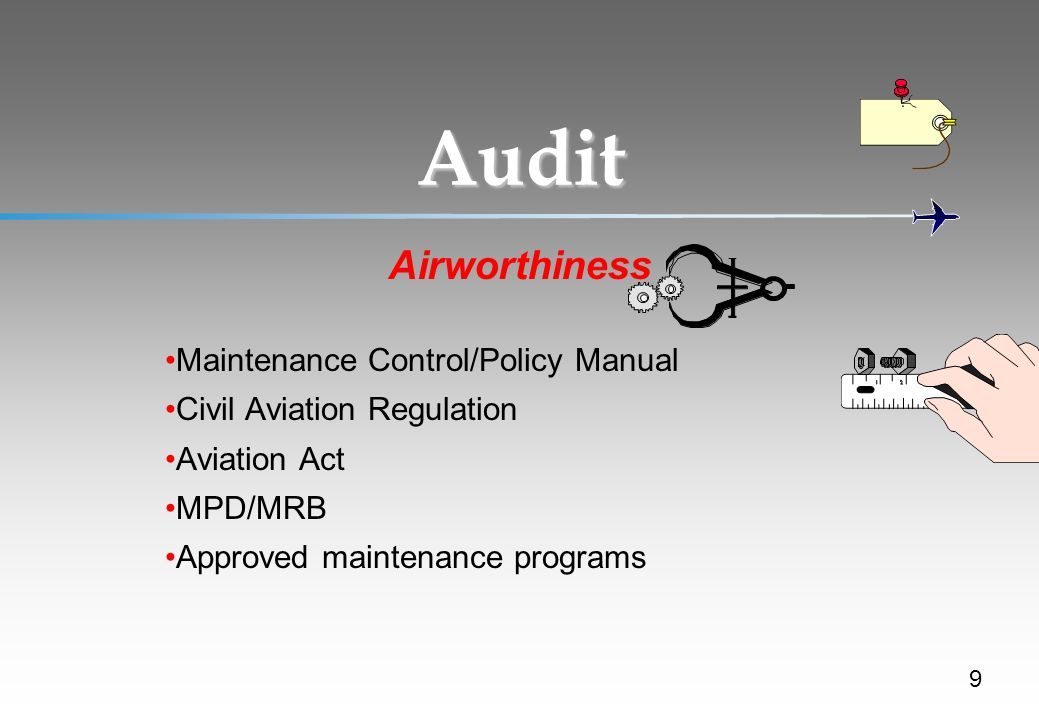 Maintenance Control/Policy Manual Civil Aviation Regulation Aviation Act MPD/MRB Approved maintenance programs Audit Airworthiness 9