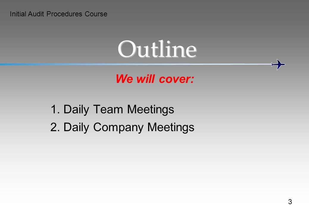 Initial Audit Procedures Course Outline We will cover: 1.