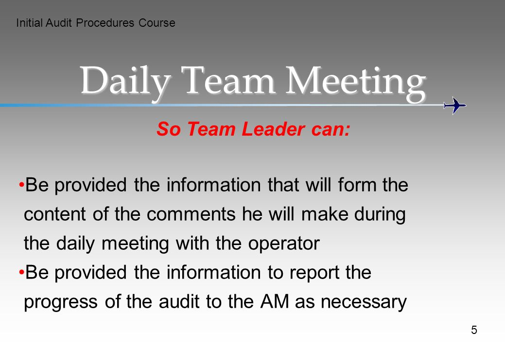 Initial Audit Procedures Course So Team Leader can: Daily Team Meeting Be provided the information that will form the content of the comments he will make during the daily meeting with the operator Be provided the information to report the progress of the audit to the AM as necessary 5