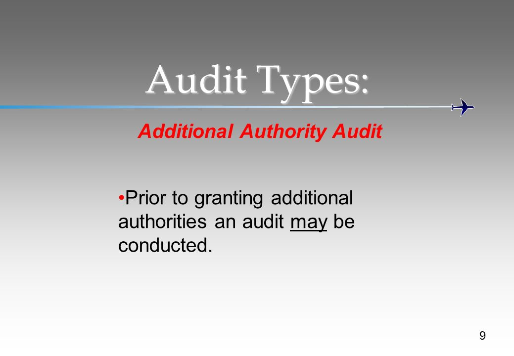 Audit Types: Additional Authority Audit Prior to granting additional authorities an audit may be conducted.
