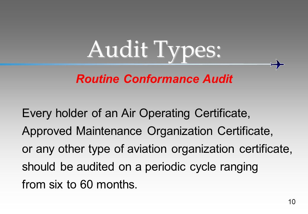Audit Types: Routine Conformance Audit Every holder of an Air Operating Certificate, Approved Maintenance Organization Certificate, or any other type of aviation organization certificate, should be audited on a periodic cycle ranging from six to 60 months.